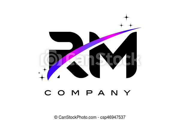 Rm R M Black Letter Logo Design With Purple Magenta Swoosh And Stars