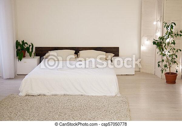 Rośliny Biały Zielony łóżko Sypialnia