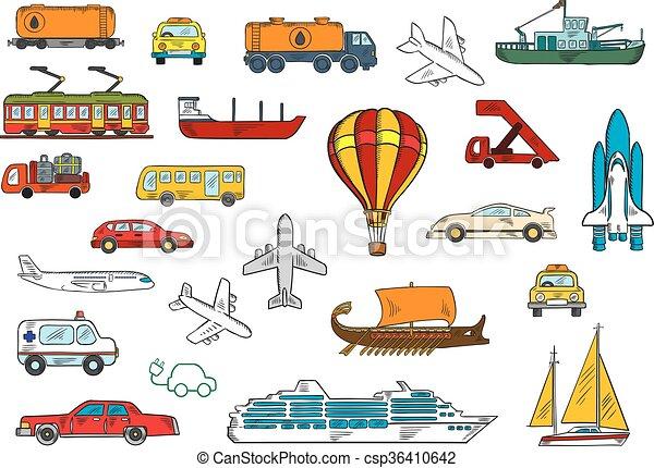 Road, air, railroad, water transportation symbols - csp36410642