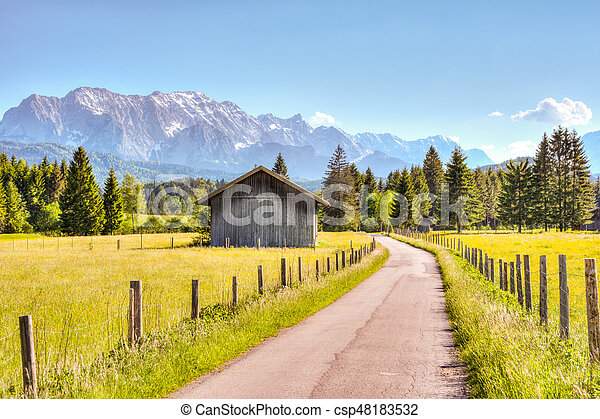 Road and a barn in the Bavarian alps - csp48183532
