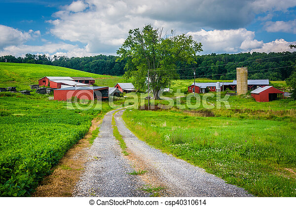 Road and farm in rural Baltimore County, Maryland. - csp40310614