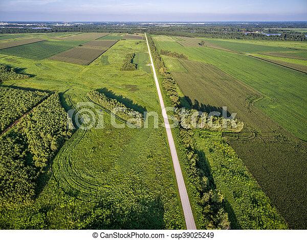 road and farmland aerial view - csp39025249