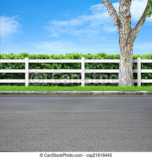 Road and fence - csp21616443