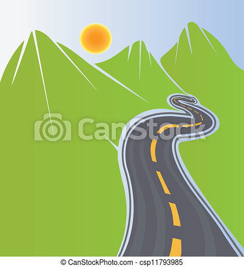 Road and green mountains  - csp11793985