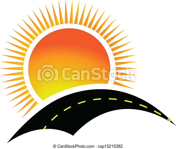 Road and sun logo design - csp15215382