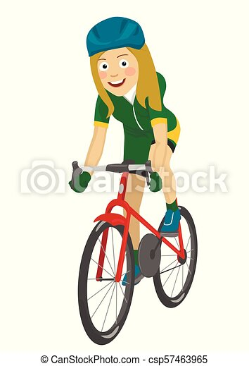 Road Bicycle Woman Riding Her Bike Smiling On White