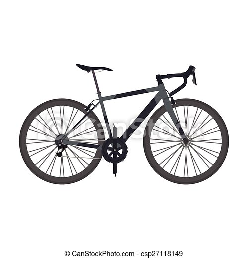 Black Road Bike Isolated On White Background Flat Style