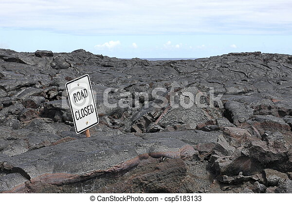 Road closed sign in the middle of lava field on Big Island, Hawaii, - csp5183133