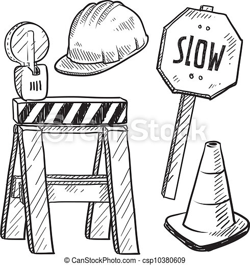 Road Construction Equipment Sketch Doodle Style Road