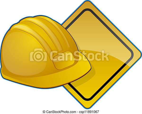 Road Construction Icon Hard Hat And Diamond Shaped Clip Art