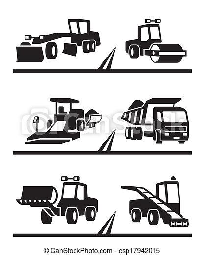 Road Construction Machinery Vector Illustration