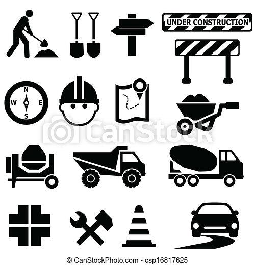 Road construction signs - csp16817625