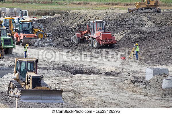 Road construction site - csp33426395