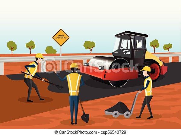 road construction vector the process of building a new road road