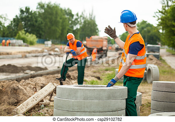 Road construction work zone - csp29102782