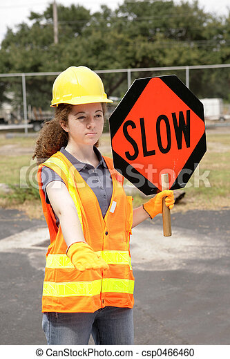 Road Crew Slow Sign - csp0466460