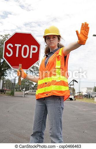 Road Crew Stop Sign - csp0466463