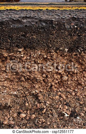Road cross section showing soil underneath cut away cross for Utility of soil