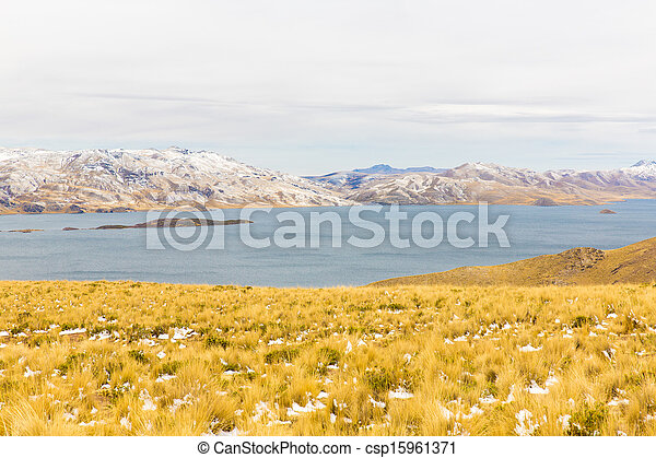 Road Cusco- Puno,Lake Titicaca, Peru,South America. Sacred Valley of the Incas. Spectacular  nature of snowy  mountains and blue sky - csp15961371