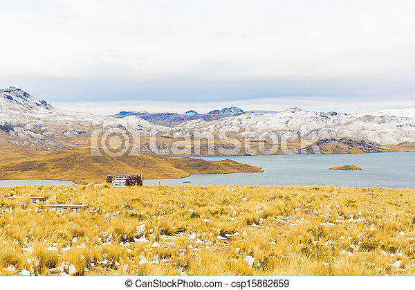 Road Cusco- Puno,Lake Titicaca, Peru,South America. Sacred Valley of the Incas. Spectacular  nature of snowy  mountains and blue sky - csp15862659