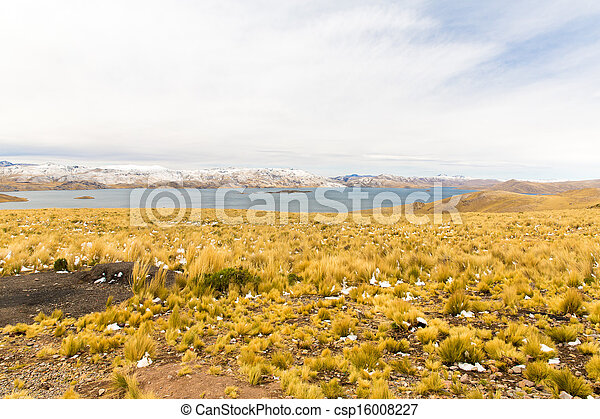 Road Cusco- Puno,Lake Titicaca, Peru,South America. Sacred Valley of the Incas. Spectacular  nature of snowy  mountains and blue sky - csp16008227