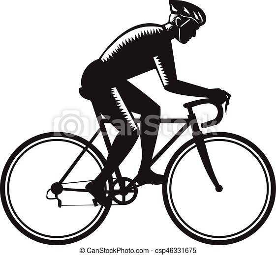 Road Cyclist Racing Woodcut Illustration Of Road Cyclist Wearing