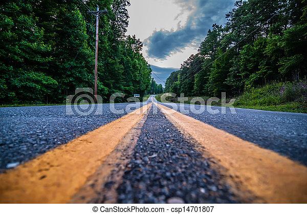 road double lane perspective - csp14701807