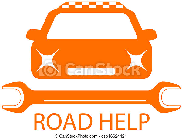 road help sign with taxi car - csp16624421