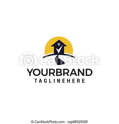 Road house check mark logo design concept template vector - csp68525028