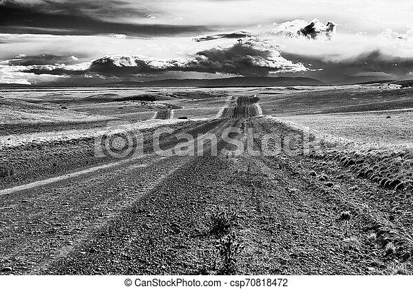 Road in endless Patagonia plains - csp70818472