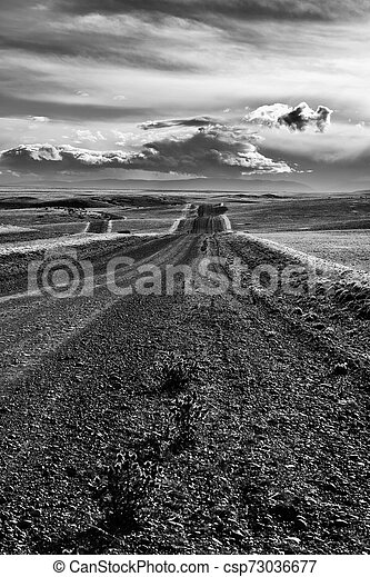 Road in endless Patagonia plains - csp73036677