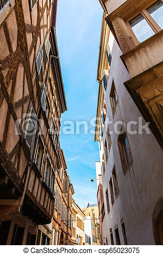 road in the old town of Strasbourg, France - csp65023075