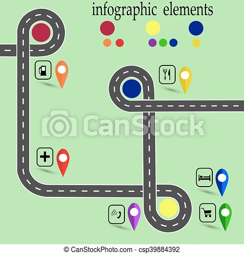 Road infographics  Highway with marked stops  Navigator  illustration