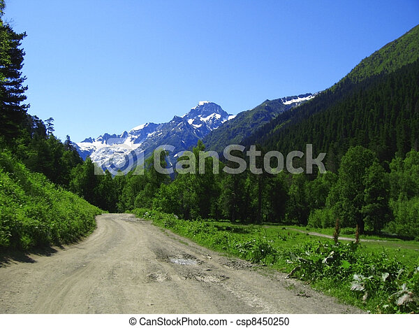 Road leads close to the snowy mountain - csp8450250