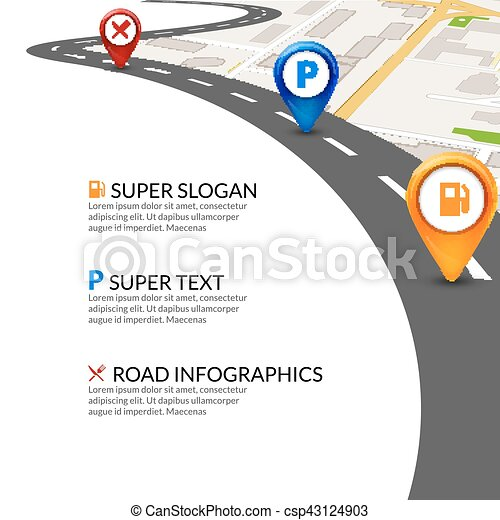 road map city infographic with colorful pins pointer road map template