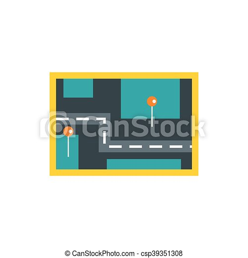 Road map icon, flat style - csp39351308