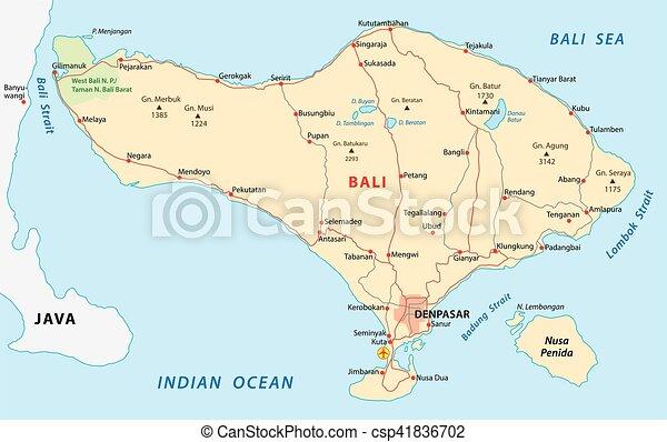 road map of Indonesian island Bali