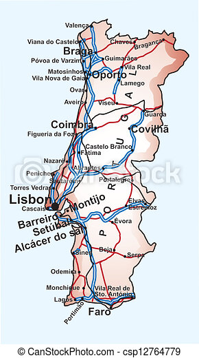 Road Map Of Portugal With The Main Cities And Towns Highways And