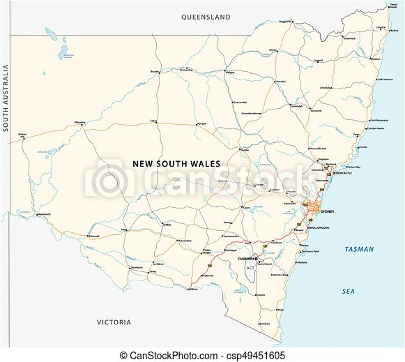 road map of the australian state new south wales map csp49451605