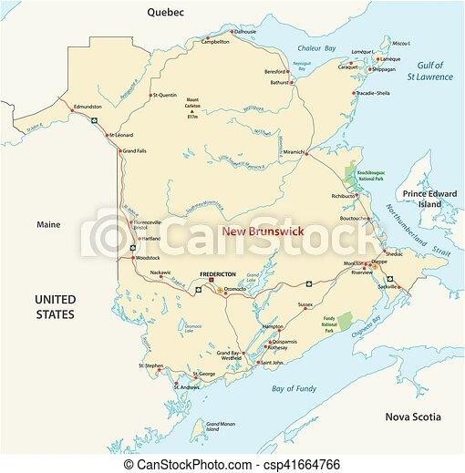 Road map of the canada atlantic province new brunswick clip art