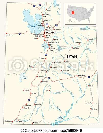 road map of the US American State of Utah - csp75660949