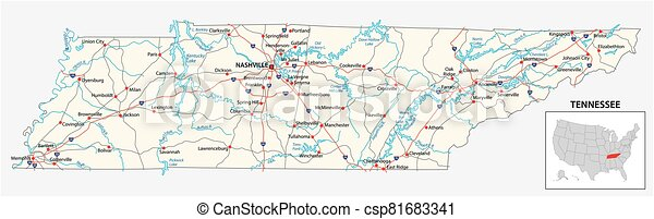road map of the US American State of Tennessee - csp81683341