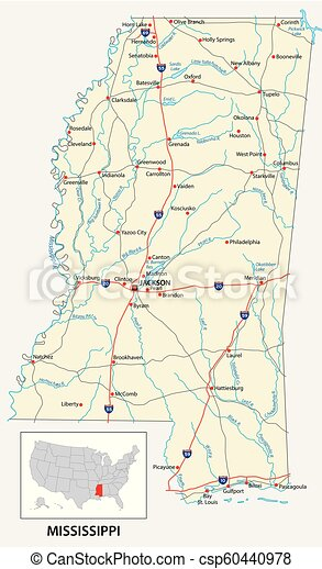 road map of the US American State of mississippi - csp60440978