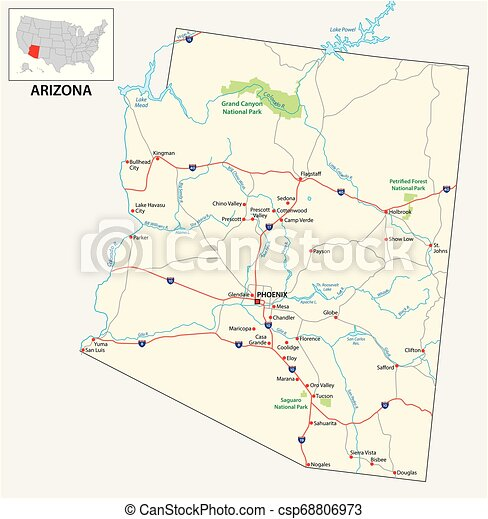 road map of the US American State of Arizona