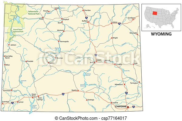 road map of the US American State of Wyoming - csp77164017