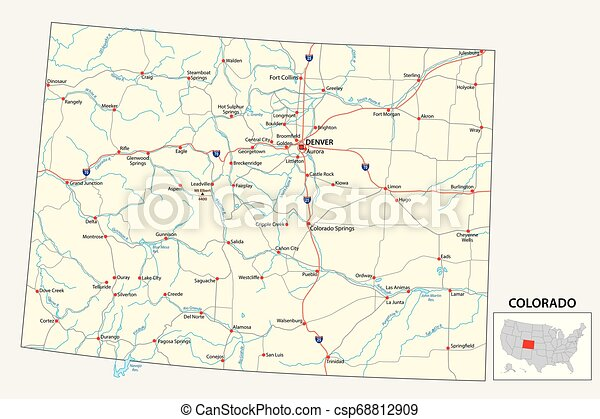 road map of the US American State of Colorado - csp68812909
