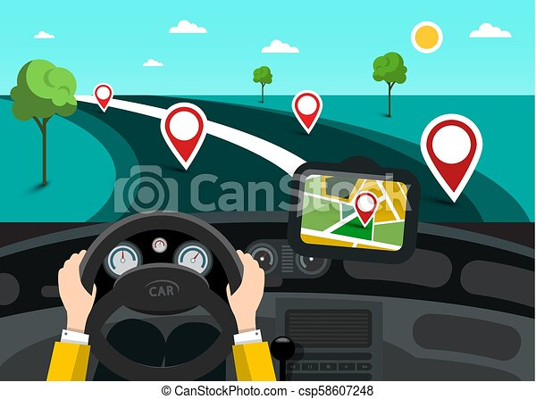 Road Map with Hands on Steering Wheel and Pins on the Road. Vector GPS Navigation Symbol. - csp58607248