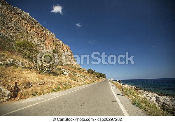 Road of Greek island Monemvasia. - csp20297282