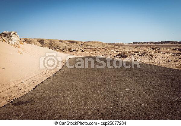 Road on Ras Mohammed national park, Sinai, Egypt - csp25077284