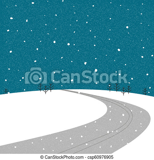 Road on the mountain during during winter - csp60976905